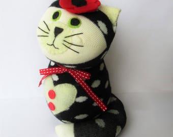 Sock cat, cat sock monkey, sock animal, cute cat, hand made cat, cat lover gifts, cat lady, stuffed cat
