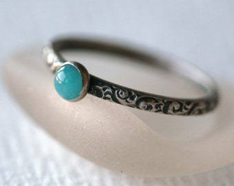 Amazonite Crystal and Sterling Silver Ring on Vine Pattern Band in Antique Silver Finish