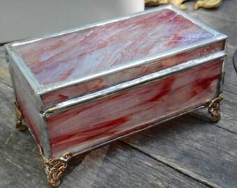 Slag Glass Box, Jewelry Box, Keepsake Box, Stained Glass, Box, Casa, Burgundy Box, Footed Box, Trinket Box, Leaded Glass Box, Dresser Decor
