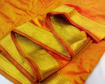 Orange and Gold Soft Silk Fabric - Gold Border Fabric - South Indian Silk Fabric - Wedding Costume Fabric - Evening Dress Fabric