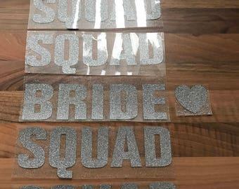 Bride squad iron on transfers glitter sliver glitter hen party