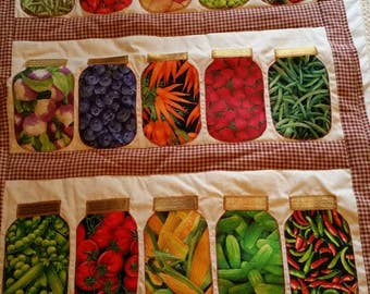 Kitchen  quilt canning wall hanging jars fabric quilting
