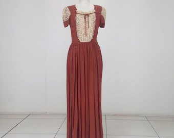 SALE 1930s brown crepe evening gown