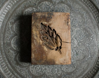 Antique Large Folk Art Wooden Primitive Leaf Shaped Springerle Mold Stamp