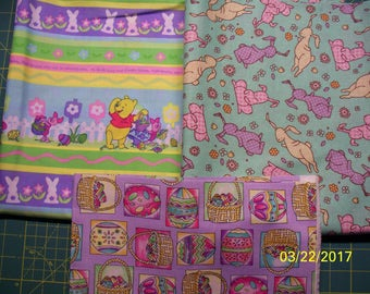 Easter Prints 100% Cotton Fabric, Fat Quarters, Easter Baskets, Pooh, Bunnies