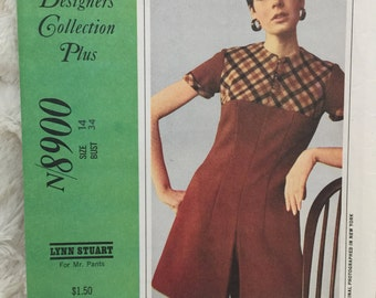 Vintage McCalls New York Designers Collection Dress Skort Suit Jumpsuit Pantdress Sewing Pattern n8900 UC FF Uncut Size 14 Bust 34 Retro