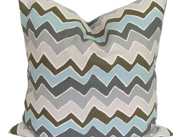 BLUE CHEVRON PILLOW Sale.18x18 inch.Decorative Pillow Cover.Housewares.Home Decor.Blue Gray Pillow Cover.Pillow Cover.Pillows.Zig.Chevron