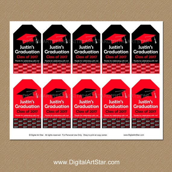 Personalized graduation tags printable tags senior personalized graduation tags printable tags senior graduation gift tags class of 2017 tags red black graduation party favor tags g1 negle Images