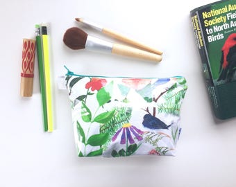 Birdie Garden Divided Pouch Small (handmade philosophy's illustration)