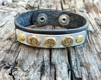 Bullet jewelry, leather bullet bracelet, bullet cuff