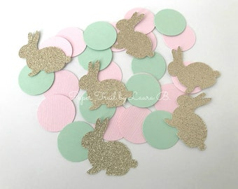 Bunny Party Confetti in Pink, Mint and Gold Glitter for 1st birthday.  Table Confetti.  Party Decorations. Some Bunny is One! 50 Count.