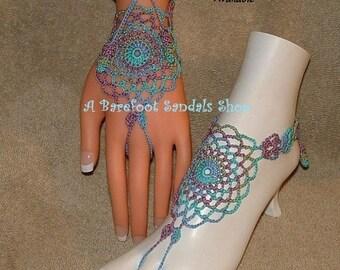 Crochet Barefoot Sandals Beachwear Ring Bracelets SIZED Sandles Shoes Footwear Hippie Bohemian Legwear Yoga Ballet Punk Clothing Accessories