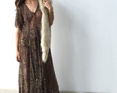 Vintage 90s Lace Dress - one size OS- sheer - fall - flowers - lace - maxi