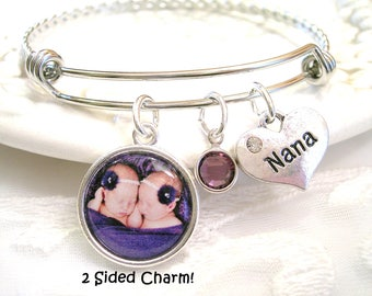 Photo Bracelet Photo Gift for Grandmother Mother's Bracelet Personalized 2 Sided Picture Charm Birthstone Jewelry Bracelet for Wife Gift