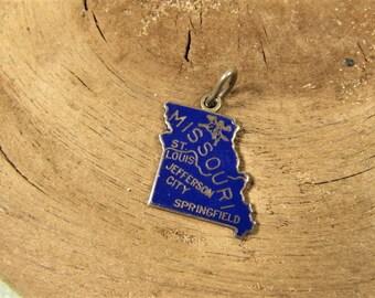 Missouri State Charm - Vintage Beau Sterling Souvenir Blue Enamel