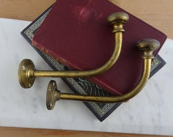 Pair of  Matching Vintage Brass Metal Wall Hooks, Antique Coat Hooks