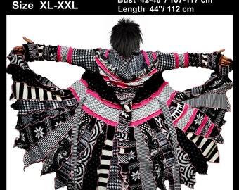 Reserved for Judy, eLf cOAT, elf sweater, size xL, size XXL, sweater coat, hoodie, hippie, gypsy sweater, patchwork coat, ooak