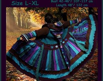 eLf cOAT, elf sweater, size L, size XL, sweater coat, pixie coat, hoodie, costume, gypsy sweater, patchwork coat, Recycled dress, ooak