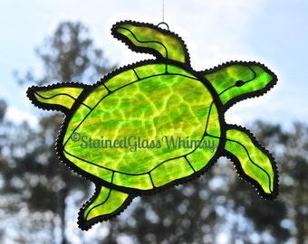 SEA TURTLE Suncatcher, Stained Glass Forest Green & Emerald mix, Touch of Amber, Highly Textured - USA Handmade Original, Green Sea Turtle