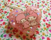 Kawaii Resin Pastel Heart Pink My Melody Necklace
