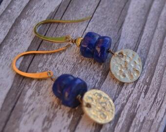 Golden lapis lazuli disk earrings