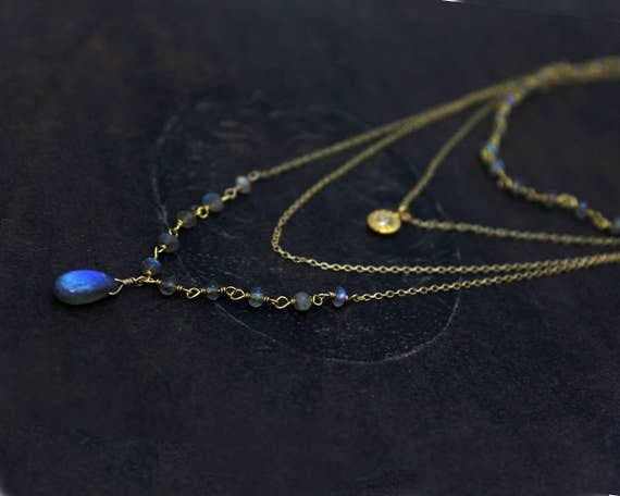 Multi Chain Choker. Labradorite Necklace, Diamond Disc Necklace. Rosary Wire wrapped Gemstones. NCC2361