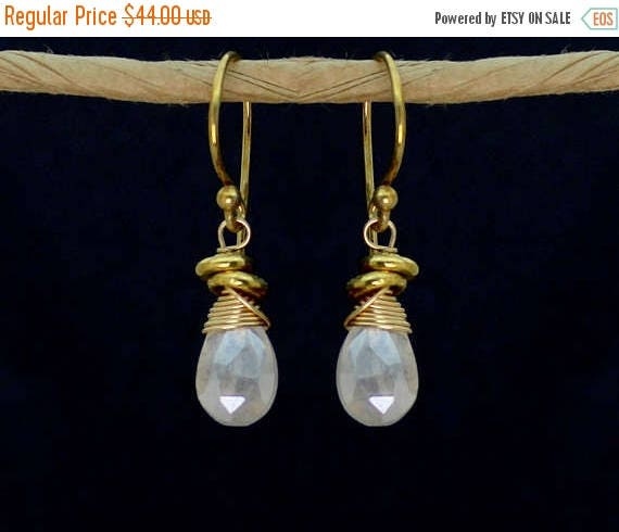 20% off. Wire Wrapped Silverite Earrings with Tiny Nuggets. Also in Labradorite. Smoky Topaz, Gold or Silver E-1964-1