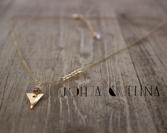 Mini 14K gold Triangle Necklace, isosceles triangle necklace, dainty necklace, Jennifer Meyer inspired, available in gold, silver