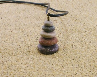 Lake Michigan Beach Stone Pebble Cairn Pendant Necklace with Black Leather Cording Adjustable up to 31 Inches, Drilled Beachstone Necklace