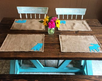 Set of 4- Wildlife Themed Natural Burlap Placemats-Double Sided- Customize-Moose-Bear-Buck-Doe-Owl-Rabbit-SquirrelRustic/Country/Folk Decor