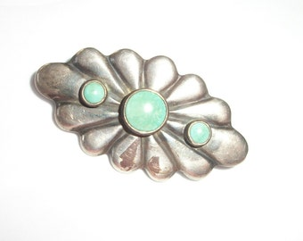 Turquoise Brooch ~ Sterling Silver Pin ~ Vintage ~ 1940's / 1950's era Jewelry ~ Wonderful Design / Deco