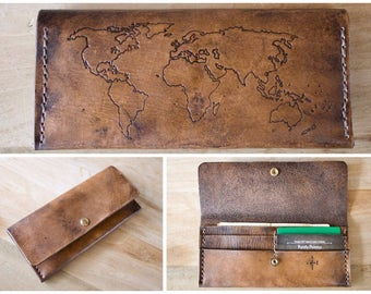 Women's World Map Leather Wallet Billfold Clutch - hand carved - tooled - made to order
