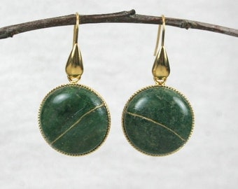 Kintsugi (kintsukuroi) African jade stone earrings with gold repair in a gold plated setting with gold plated teardrop ear wires - OOAK