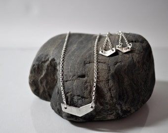 """99.9% Pure Silver Chevron Pendent and earrings with Sterling Silver 18"""" Rolo Chain"""