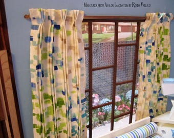 1:6 scale Mid Century Modern Pinch Pleat Drapes Curtains and rod in Waverly fabric MCM pattern with green and blue on cream background
