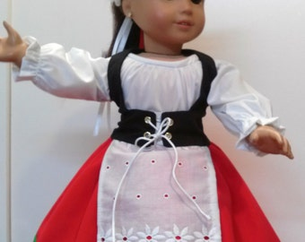 """Italian peasant dance outfit for 18"""" dolls like American Girl"""