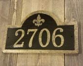 Custom Carved Address Sign Fleur De Lis Antique Brass Finished Wood