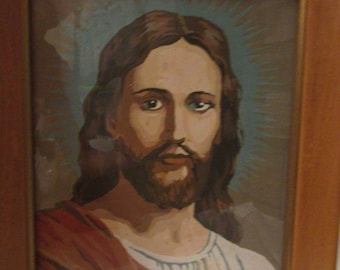 Vintage Paint By Numbers JESUS Religous Painting 8X10 1950'S Framed