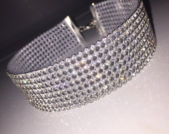 Rhinestone Choker, Woman Necklace, Woman Choker Trend Jewelry, Party Jewelry Gifts, Silver Crystal Choker, choker jewelry, crystal jewelry