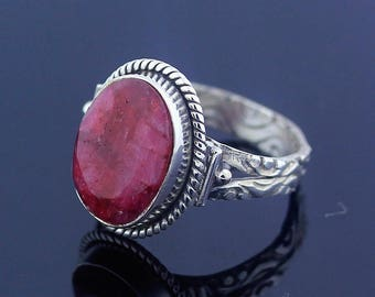 Silver Ruby Ring Size 7.5 Sterling Silver 925 Jewelry