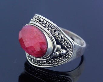 Red Silver Ruby Ring Size 7.5 Sterling Silver 925 Jewelry