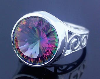 Multi Color Mystic Topaz Quartz Ring // 925 Sterling Silver Ring Size 8 Jewelry - R79