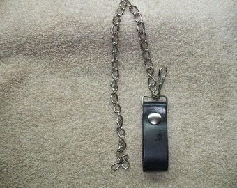 chain for a wallet. leather loop with chain.