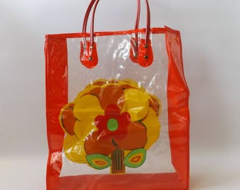 red poppy vinyl beach bag | vintage 60s farmers market top handle tote bag hippie boho grocery totes 1960s hippy recyclable festival purse