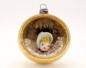 1950s Glass Diorama Christmas Ornament Vintage Holiday Christmas Decoration Bauble Spun Cotton Girl