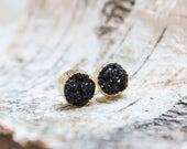 Black druzy round stud earrings, gold dipped sparkly crystal earrings, golden bohemian jewelry, golden deep black stone post earrings
