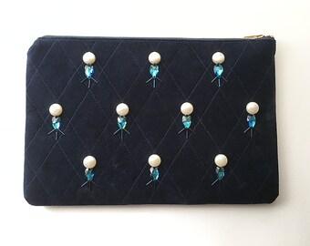 SALE - Bejeweled Velvet Clutch - Sapphire