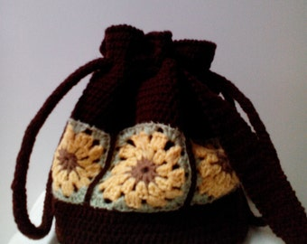 Hand-Crocheted Sunflower Draw-String Bag (with lining)