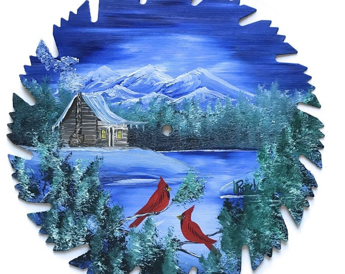 Hand Painted Saw Blade Mountain Log Cabin Cardinals Winter Blue