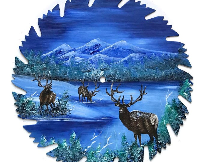 Hand Painted Saw Blade Mountain Blue Winter Three ELK